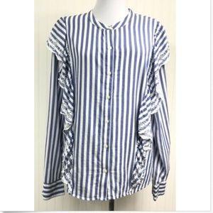 GAP Women's XL Blouse Striped Ruffles L/S Cotton